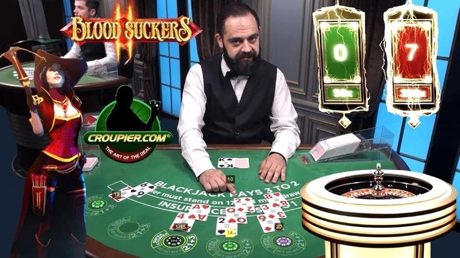 ONLINE BLACKJACK! LIGHTNING ROULETTE! High Stakes Slot Bonus Blood Suckers 1 & 2! £25 to £50 Spins!